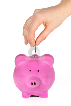 Hand putting coin in piggy bank stock photo, Hand putting coin into pink piggy bank slot by Elena Elisseeva