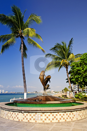 Friendship fountain in Puerto Vallarta, Mexico stock photo, Friendship fountain on Malecon at Pacific ocean in Puerto Vallarta, Mexico by Elena Elisseeva