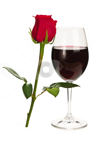 Wine with red rose stock photo, Romantic glass of red wine with long stemmed rose by Elena Elisseeva