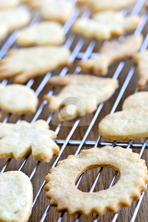 Cooling freshly baked cookies stock photo, Cooling rack with fresh baked homemade shortbread cookies by Elena Elisseeva