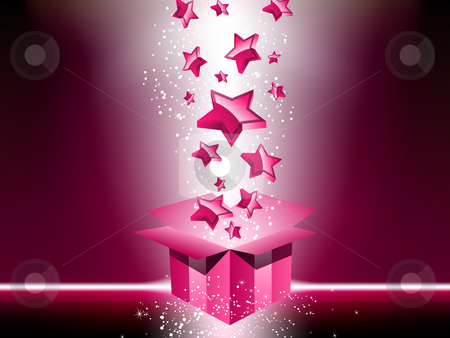 Pink gift box with stars. stock vector clipart, Pink gift box with stars. Editable Vector Image by Augusto Cabral Graphiste Rennes
