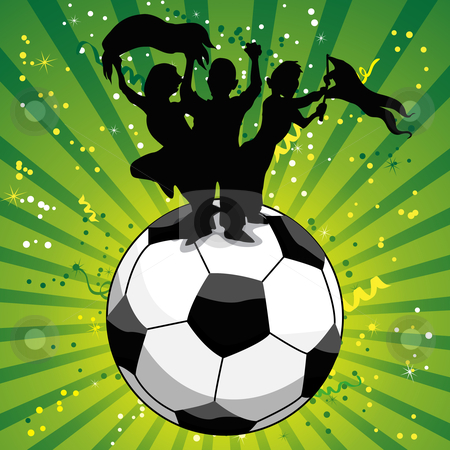 Crowd Celebrating Soccer Game on Ball.  stock vector clipart, Crowd Celebrating Soccer Game on Ball. Editable Vector Illustration by Augusto Cabral Graphiste Rennes