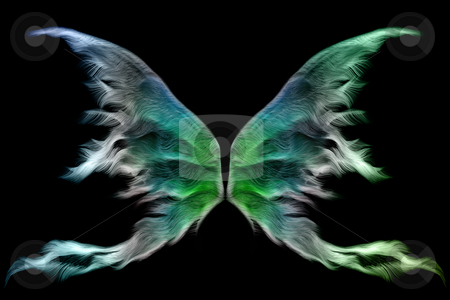 Fairy wings stock photo, Set of colorful fairy wings isolated on black by Anneke