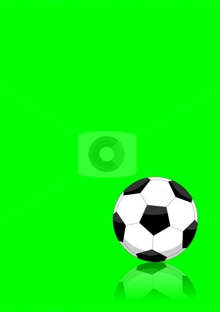 Soccer ball layout stock photo, An illustration of a soccer ball on a green background. Ideal for graphic layouts, it has enough space for placing text by Mihai Zaharia