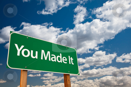 You Made It Green Road Sign with Sky stock photo, You Made It Green Road Sign with Dramatic Clouds and Sky - The Kudos Sign Series. by Andy Dean