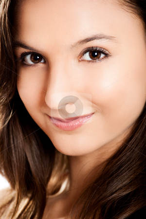Teenage girl portrait stock photo, Close-up portrait of a beautiful teenage girl smilling by ikostudio