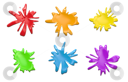 Rainbow paint splatters stock photo, Rainbow Paint Blobs on a White Background by Kheng Ho Toh