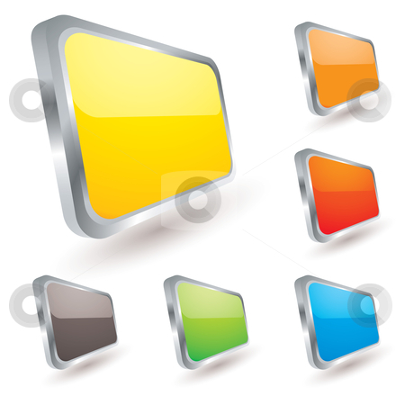 Badge icon stock vector clipart, Collection of six web icons with silver bevel and light reflection by Michael Travers