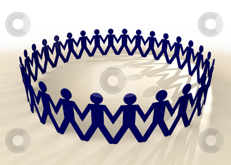 Paper chain men blue stock photo, People in union holding hands in a circle with shadow by Michael Travers