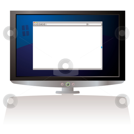 LCD web browser monitor stock vector clipart, LCD Computer screen with internet web browser and shadow by Michael Travers
