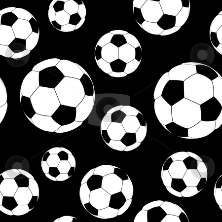 Seamless soccer ball stock vector clipart, Traditional black and white soccer or football with seamless background by Michael Travers