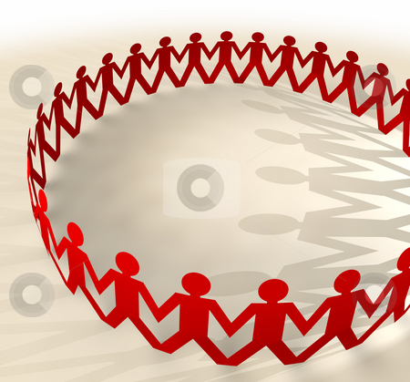 Paper chain men ring stock photo, Red paper chain men holding hands in a ring concept with shadows by Michael Travers