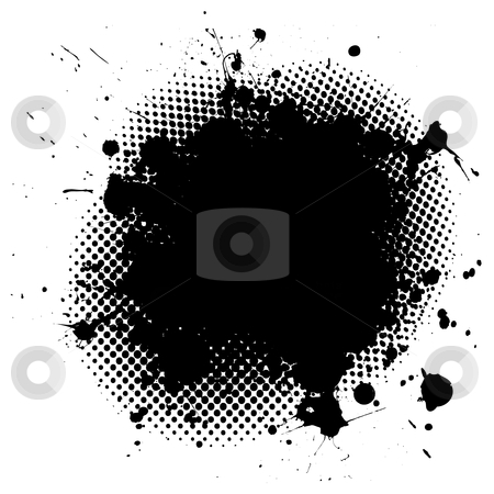 Grunge ink splat stock vector clipart, Black ink splat background with halftone dots and copy space by Michael Travers