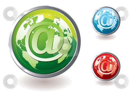Email icon world concept stock vector clipart, Collection of world email icons with colour variation by Michael Travers