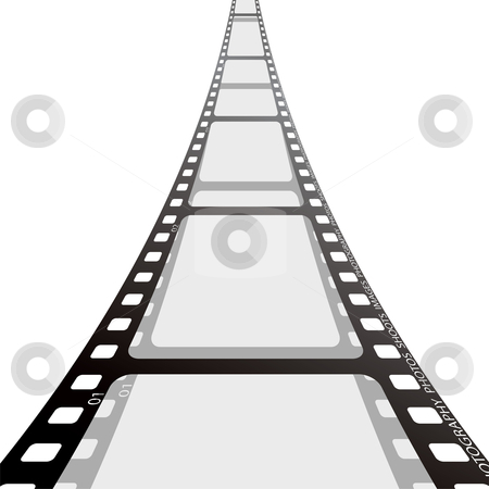 Film strip reel stock vector clipart, Cinema film strip blank with drop shadow on white background by Michael Travers