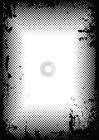 Grunge halftone border stock vector clipart, Black ink splat border with halftone dots ideal background image by Michael Travers
