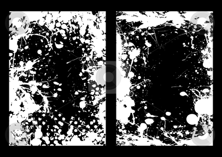 Negative ink splat frame stock vector clipart, Abstract negative ink splat frame background in black and white by Michael Travers
