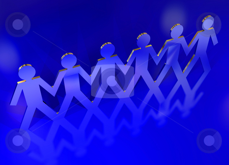 Silver paper chain men stock photo, String of paper chain men in silver metal holding hands reflected in blue background by Michael Travers