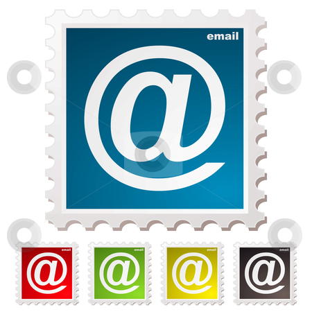 Email stamp stock vector clipart, Collection of email stamps with colour variation concept by Michael Travers