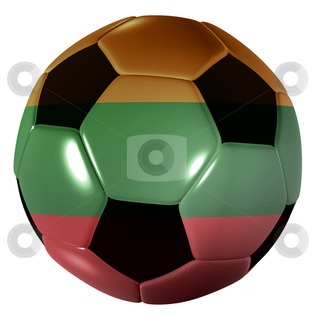 Football lithuania flag stock photo, Traditional black and white soccer ball or football lithuania flag by Michael Travers