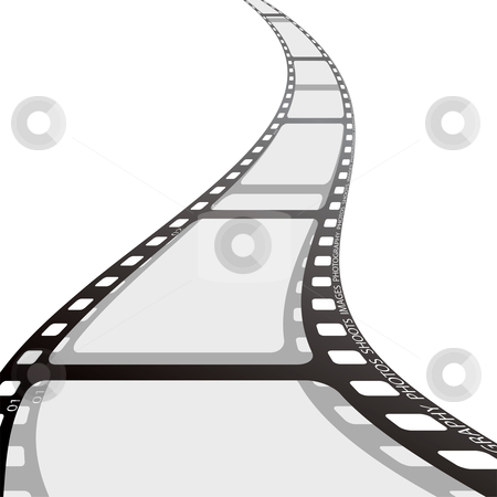 Film strip reel wave stock vector clipart, Piece of camera film with wave and drop shadow by Michael Travers