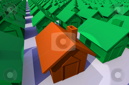 Illustrated street of houses stock photo, Close up concept view of a row of green houses and spot light on a orange house by Michael Travers