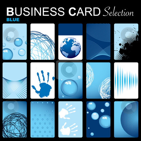 Business card selection stock vector clipart, Selection of fifteen blue inspired business cards with abstract elements by Michael Travers