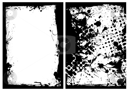 Ink grunge black splat border stock vector clipart, Grunge black ink splat border with two image frames by Michael Travers