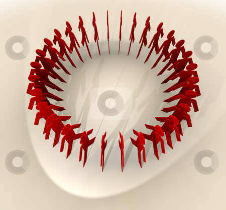 Paper chain men from above stock photo, Concept with group of men standing in a circle with spot light by Michael Travers