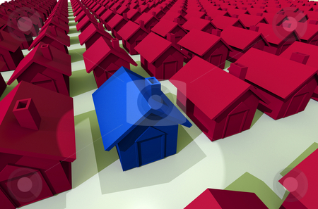 Red house in row of streets stock photo, Housing concept with blue houses in a row and spot light on pink by Michael Travers