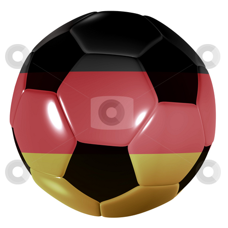 Football germany stock photo, Traditional black and white soccer ball or football germany by Michael Travers