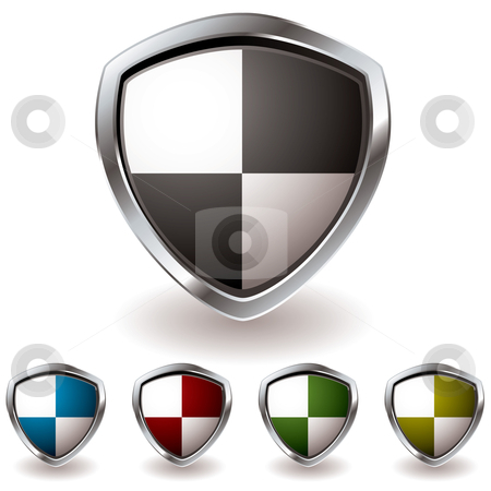 Sheild quaters stock vector clipart, Modern shield icon with black quarters and colorful sections by Michael Travers