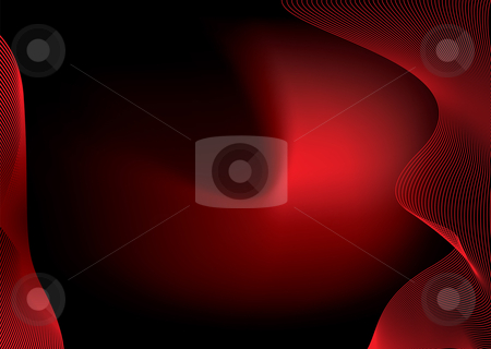 Virtual wave space rainbow stock vector clipart, Abstract bright red background with flowing lines and copy space by Michael Travers