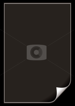 Paper page curl black stock vector clipart, Black paper concept with copy space and outer glow and page curl by Michael Travers