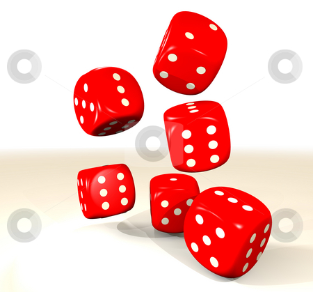 Red six dice stock photo, Collection of six red dice with white dots and white background by Michael Travers