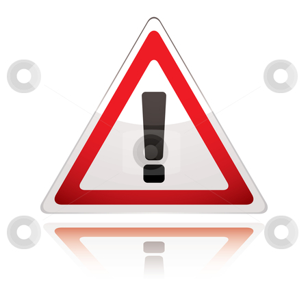 Warning sign icon uk exclamation stock vector clipart, UK warning sign icon with exclamation with reflection by Michael Travers