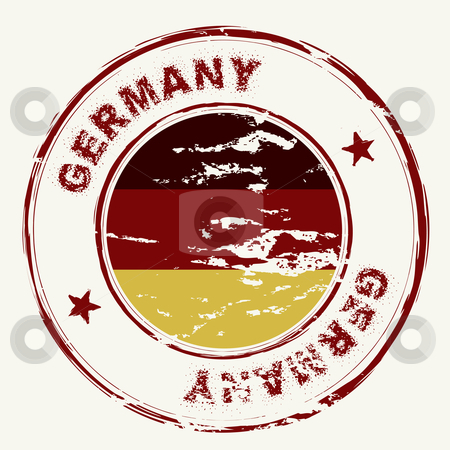 Germany ink stamp stock vector clipart, Grunge ink stamp with german flag and grunge effect by Michael Travers