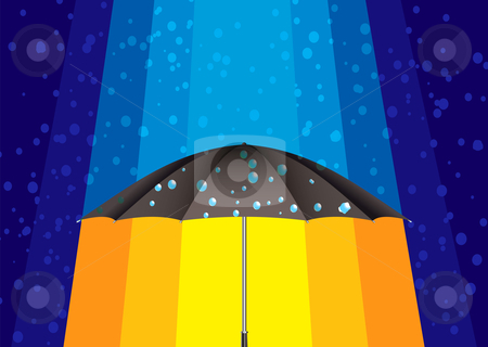 Abstract rain umbrella stock vector clipart, Winter rain drops background with umbrella and rays of sun by Michael Travers