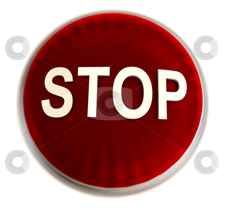 Red stop button stock photo, Transparent red stop button with light effect and white background by Michael Travers