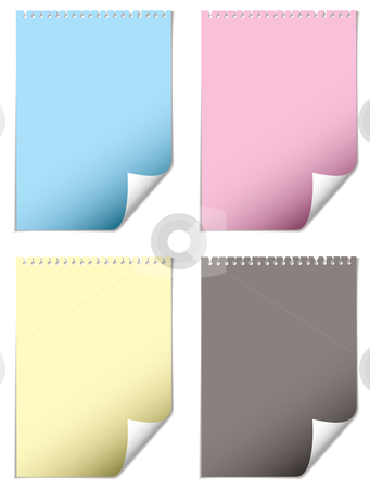 Page curl cmyk stock vector clipart, Torn paper sheet with whole and cmyk color and drop shadow by Michael Travers