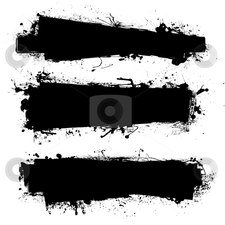 Black ink banner stock photo, Black ink banner with ink grunge effect and copy space by Michael Travers