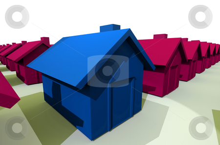View of cartoon house stock photo, Blue house viewed from the side with pink house in the background by Michael Travers