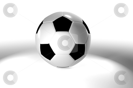 Football fog stock photo, Traditional football or soccer ball with black and white patches by Michael Travers