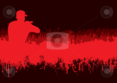 Silhouette rock concert crowd stock vector clipart, Rock or music concert crowd in silhouette with grunge ink blood effect by Michael Travers