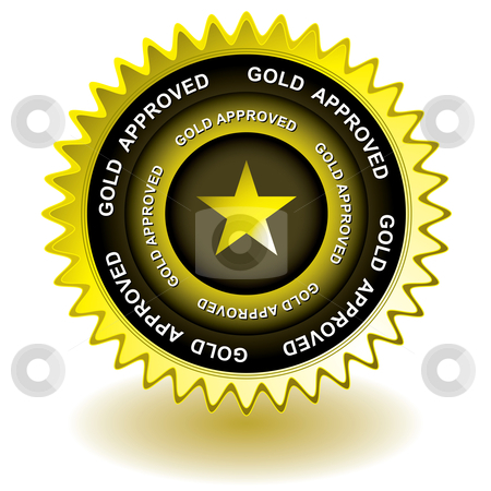 Approved gold icon stock vector clipart, Golden icon ideal for web award or symbol for internet site by Michael Travers