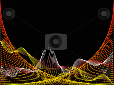 Abstract red and yellow wave design stock vector clipart, A red and yellow wave and spider web design on a black background by Mike Price