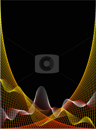 A red and yellow wave and spider web design on a black backgroun stock vector clipart, A red and yellow wave and spider web design on a black background by Mike Price