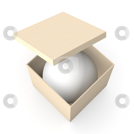 Sphere in a box stock photo, 3D Illustration. by Michael Osterrieder