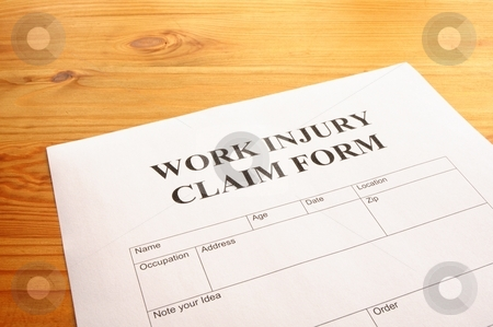 Work injury stock photo, Work injury claim form showing business insurance concept by Gunnar Pippel