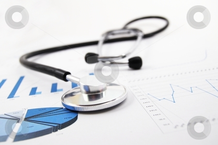 Health and medical concept stock photo, Health and medical concept with stethoscope on diagram by Gunnar Pippel